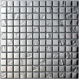 Luxury Silver- Square Pattern Glass and Stone Blend Mosaic Tile