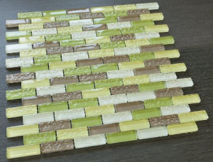 "Crystile 1/2 ""x 2"" Green, Grey & White Glass Mosaic Tiles"