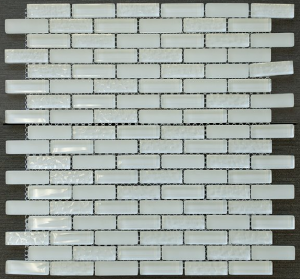 "Snowflake 5/8"" x 1 7/8""  White Glass Mosaic Tile"
