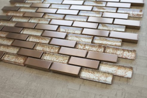 "Bronze Metal & Bronze Galaxy Glass  5/8"" x 1 7/8"" Mosaic Tile"