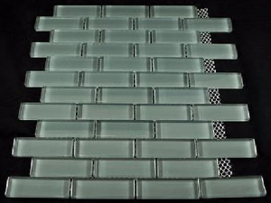Eclipse 1 in. x 3 in. Glossy Grey Glass Mosaic Tile