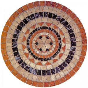 "36"" Dia. Round Red Travertine - Crema Marfil Marble Tumbled Water Jet Medallion"