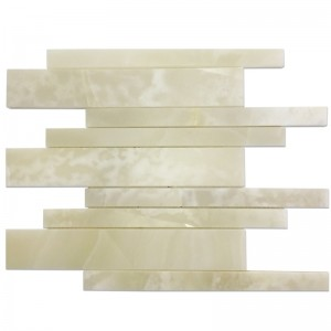 White Onyx Liner Pattern Mosaic Tile