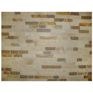 Mix Travertine Brick Split FaceTumbled Mesh Mounted Mosaic Tile