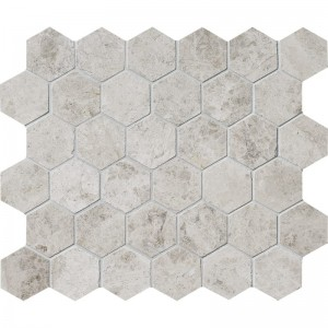 Silver Travertine 3x3 Hexagon Honed Mesh Mounted Mosaic Tile