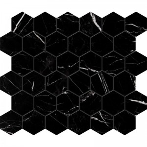Black Marble 2x2 Hexagon Polished Mesh Mounted Mosaic Tile