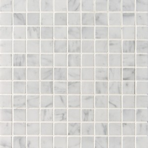 1x1 Arabescato White Carrara Marble Square Pattern Polished Mesh Mounted Mosaic Tile