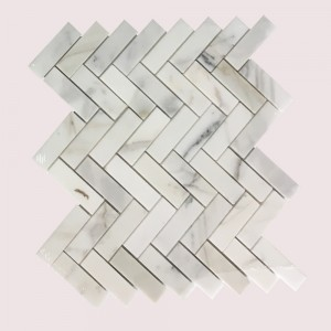 1x3 Calacatta Gold Herringbone Pattern Polished Mosaic Tile
