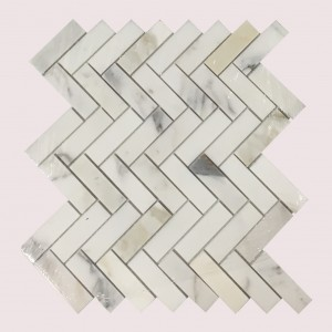 1x3 Calacatta Gold Herringbone Pattern Honed Mosaic Tile