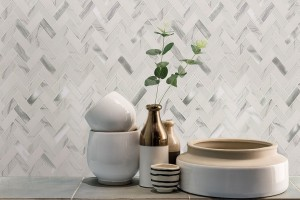 Bytle Bianco Herringbone Stone Glass Metal Blend White Mosaic Tile | Wall | Backsplash | Accent Wall | Bathroom | Kitchen | Shower | Fireplace | Countertop