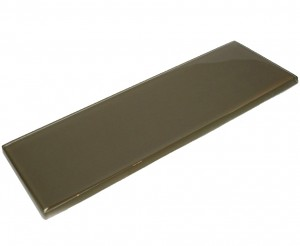 Chocolate 4 in. x 12 in. Saddle Brown Polished Glass Tile