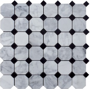 "Bianco Carrara White Marble 2"" Octagon Polished Mosaic Tile for Backsplash, Wall & Flooring"