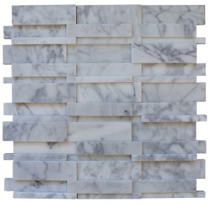 ILLUSION 3D BRICK WHITE CARRERA PATTERN  Marble From Italy