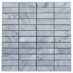 "Italian White Carrara Marble 1"" x 3"" Brick Polished Mosaic Tile"