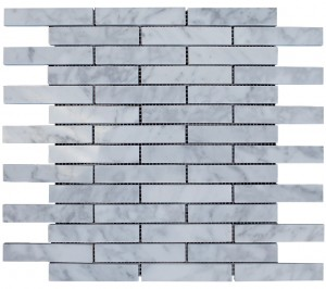 "Italian White Carrara Marble 1"" x 4"" Brick Polished Mosaic Tile"