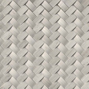 Mystic Cloud Arched Herringbone Honed Marble Tile