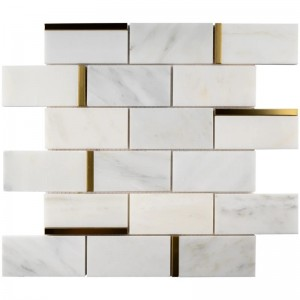 2 in. x 4 in. White and Gold Brick Pattern Polished Marble Mosaic Tile | Backsplash | Shower | Kitchen | Bathroom | Wall