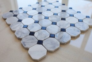 2'' White Carrara Octagon with Dot Polished Marble Mosaic Tile | Wall | Backsplash | Bathroom | Kitchen | Shower | Natural Stone