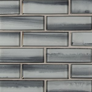 2 in. x 6 in. Ombre Grigia Subway 8mm Thick White Glass Tile | Wall | Backsplash | Vanity Wall | Bathroom | Kitchen | Shower Surround | Fireplace Facades | Countertop