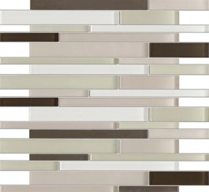 Zen Cryess Brown 12 in. x 12 in. Random Strip Glass Mosaic Tiles