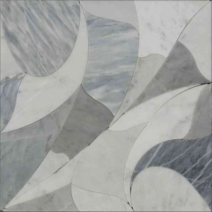 "12""x12"" Picasso Bianco Carrara Marble and Bardiglio Nuvolato Waterjet Mosaic Tile"