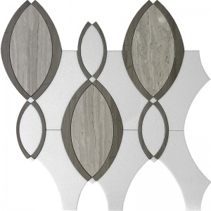 Raindrop Wooden Grey and Athens Grey Marble Waterjet Glass Mosaic Tile