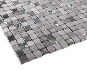 "River Stone 5/8"" x 5/8"" Grey Marble, Stainless Steel Glass Tile"