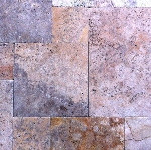 Scabos Travertine 24 x 24 Tumbled Paver Tile for Driveway and Pool Deck