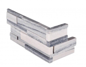 Alaska Gray 3D Honed Stacked Stone Panels Corner 6 in. x 12 in. x 6 in. Wall Tile