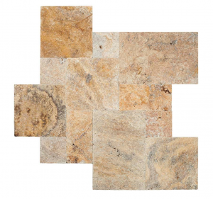 Tuscany Scabas French Versailles Pattern Tumbled Travertine Pavers Tile for Driveway and Pool Deck