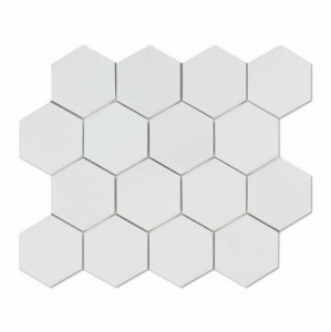 "Thassos White 3"" Hexagon Honed Marble Mosaic Tile"