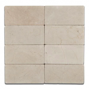 Spanish Crema Marfil 3 in. x 6 in. Subway Marble Tile Tumbled