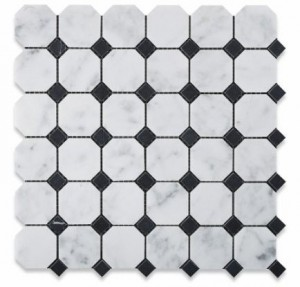 Bianco Carrara White Marble Polished Octagon with Black Dot Mosaic Tiles