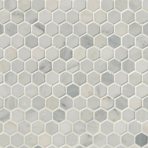 "Arabescato Carrara White Marble Honed 1""  Hexagon Mosaic Tile"