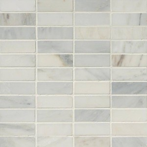"Arabescato White Carrara Marble 1"" x 3"" Brick Honed Mosaic Tile"