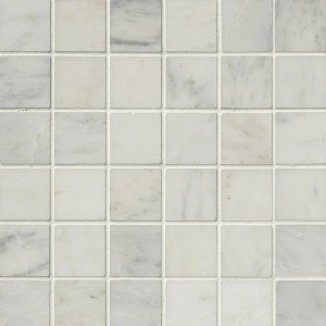 2x2 Italian White Carrara Marble Square Pattern Honed Mesh Mounted Mosaic Tile