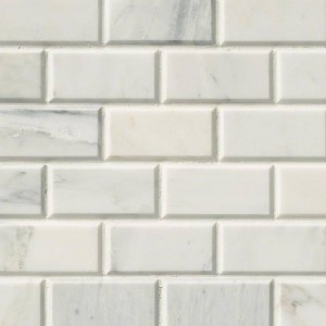Arabescato Carrara 2x4 Marble Honed and Beveled Tile