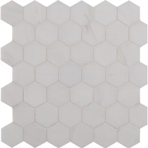 2x2 Bianco Dolomite White Marble Polished Hexagon Mosaic Tile
