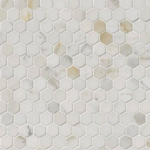 Calacatta Gold Italian Marble Hexagon 1x1 Polished Mosaic Tile