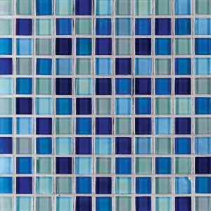 Elixir Iridescent Blue Blend 1 x 1 Crystallized Glass Mosaic Tile