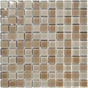 Myrtle 1 in. x 1 in. Mocha Beige Blend Glass Mosaic Tile