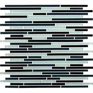 Random Strip12x12 Black White Bamboo Pattern Glass Mosaic Tile