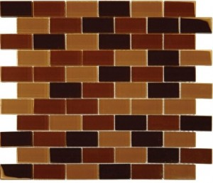 1 x 2 Brown Blend Glass Mosaic Tile