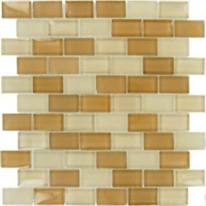 1x2 Broadway Mocha Cream Blend Glass Mosaic 12x12 Tile