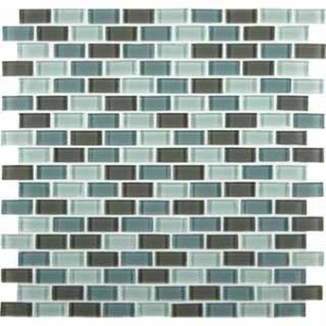 Mini Brick Pattern 12 in. x 12 in. Majestic Ocean Glass Mosaic Tile