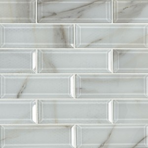 11.81 in. x 11.81 in Ivory Amber Beveled Subway Glass Mosaic Tile