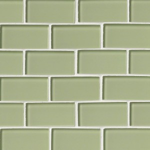 Broadway Mint Green 2 x 4 Glass Mosaic Tile