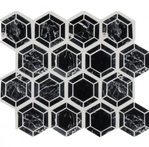 12.4x12.4 Random Hexagon Black Polished Marble Mosaic Tile