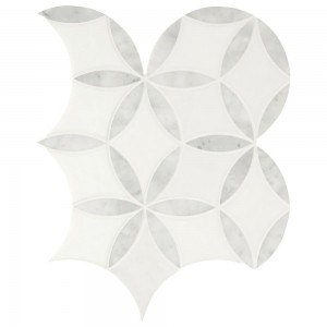 La Fleur White and Gray Floral Pattern Polished Marble Mosaic Tile