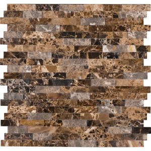 Emperador Marble Stick and Peel Splitface Mosaic Tiles